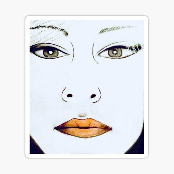 1980s Retro Art Face Drawing Sticker