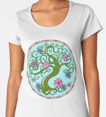 Decorative tree inscribed in a circle. Blooming tree. Women's Premium T-Shirt