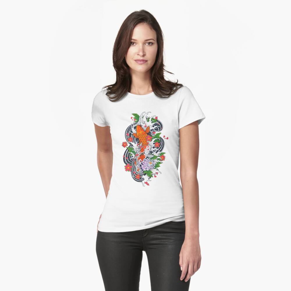 Koi Fish Pond  Fitted T-Shirt