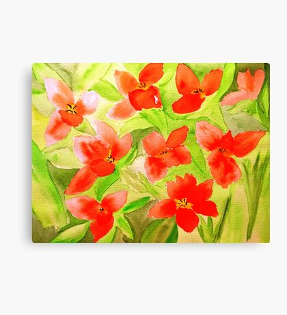 Orange City Tulips Canvas Print