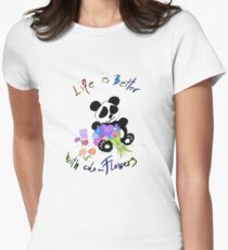 Panda Life Is Better With Flowers Animal Art Design Quote Women's Fitted T-Shirt