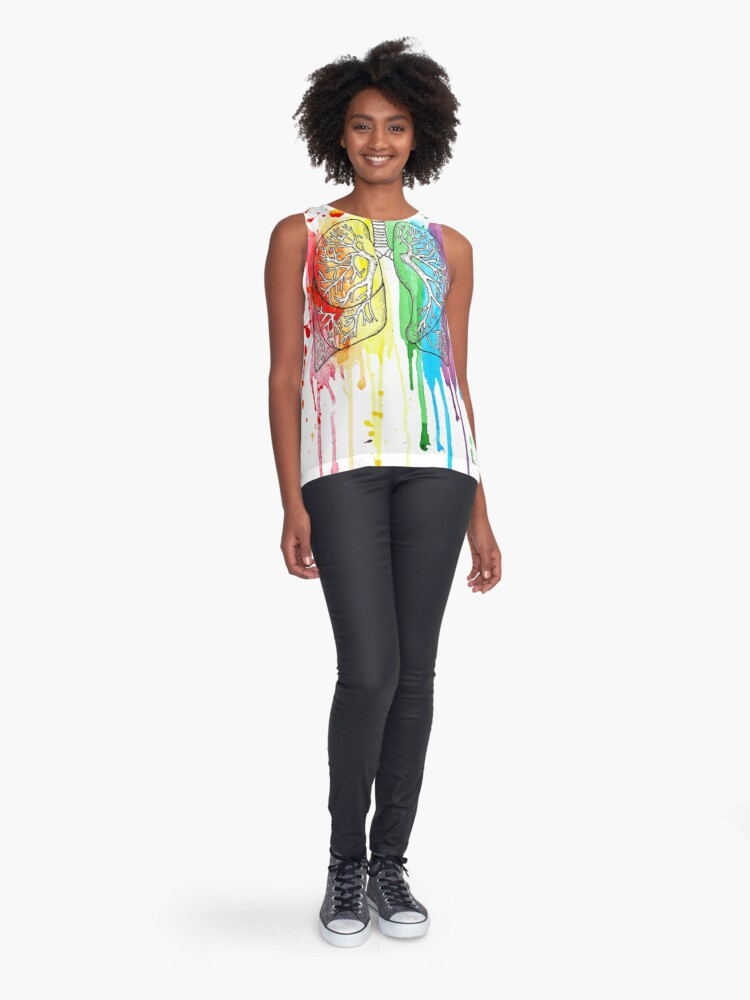 Alternate view of Watercolour and Pen Rainbow Anatomical Lungs Sleeveless Top