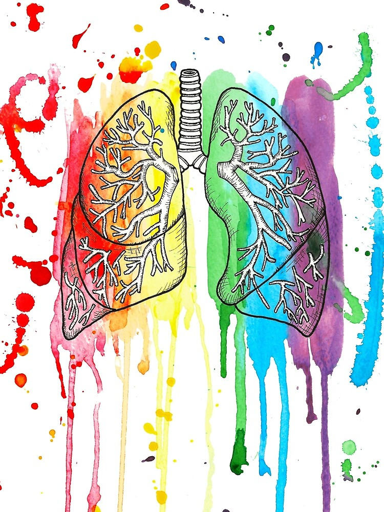 Watercolour and Pen Rainbow Anatomical Lungs by LPDesignsAndArt