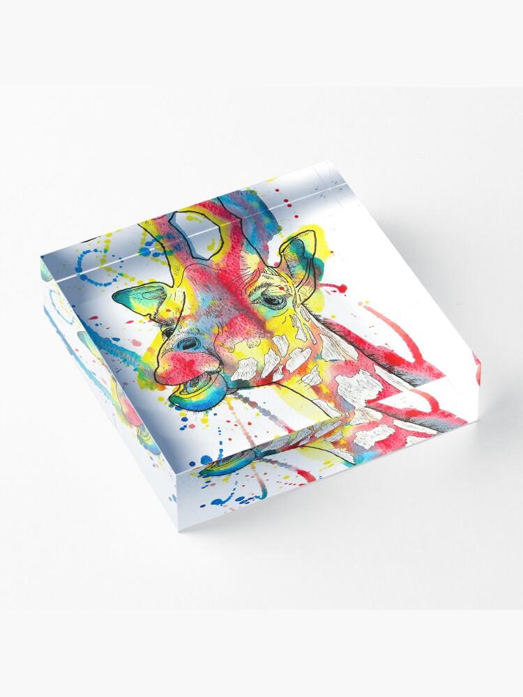 Alternate view of Giraffe Watercolour and Pen Illustration Acrylic Block