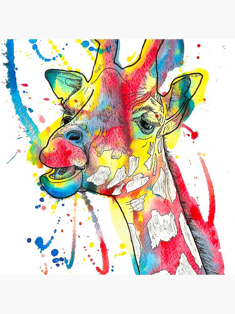 Giraffe Watercolour and Pen Illustration by LPDesignsAndArt