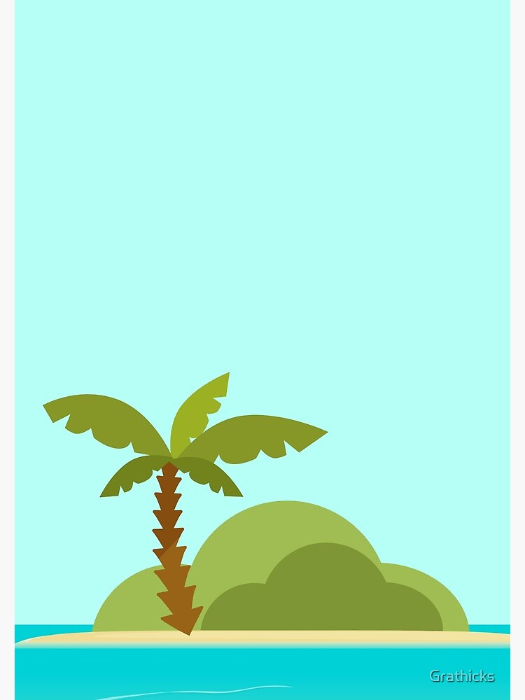Warm Desert Island with Palm Tree by Grathicks