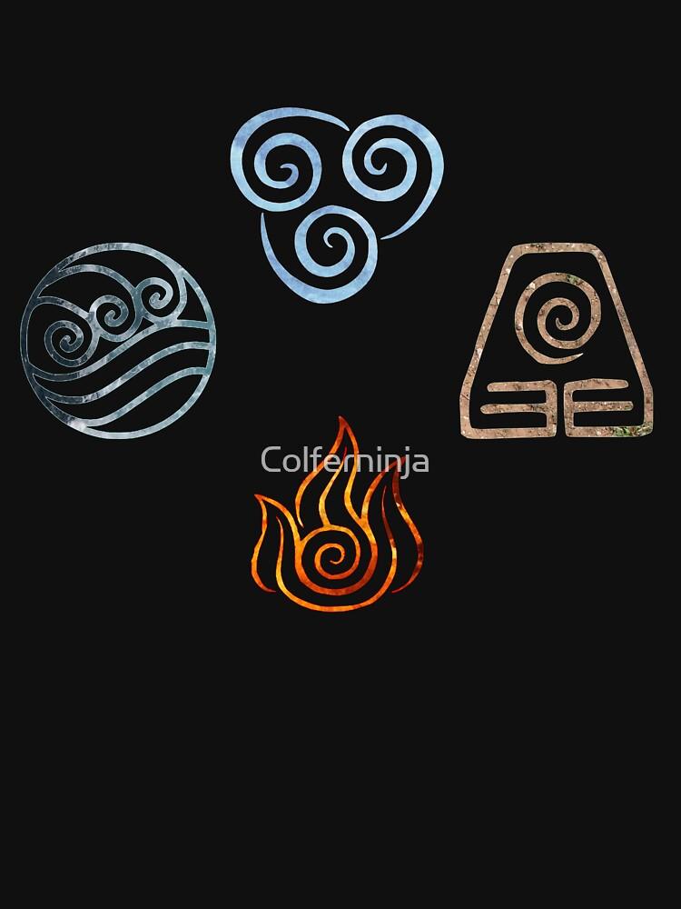 The Four Elements Avatar Symbols Unisex T Shirt By Colferninja