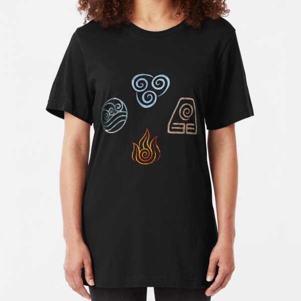 The four Elements Avatar symbols Slim Fit T-Shirt