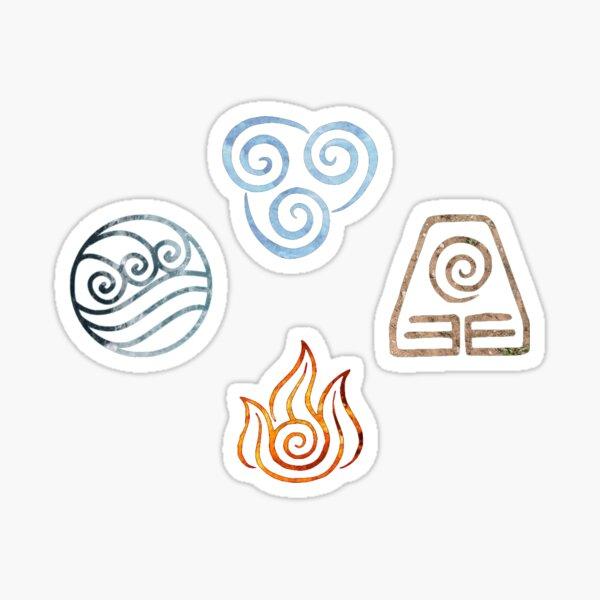 Los cuatro símbolos de Avatar de Elementos Pegatina