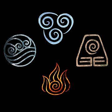 The four Elements Avatar symbols by Colferninja