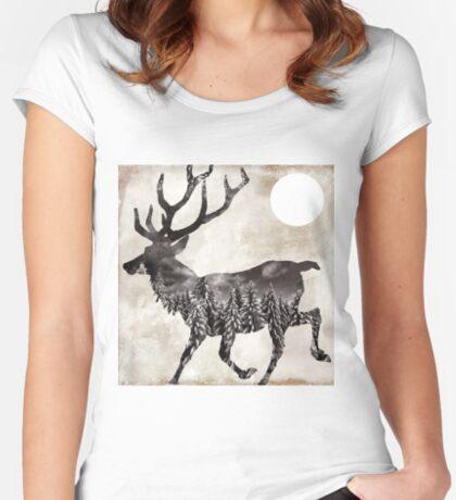 Going Wild Deer Women's Fitted Scoop T-Shirt