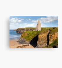 view of the  Ballybunion castle beach and cliffs Canvas Print