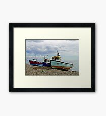 Fishing Boats and Net On Beer Beach Framed Print