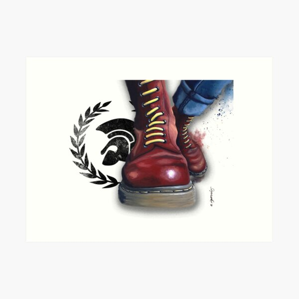 Skinhead doc martens and trojan, Nikki Morris artist Art Print