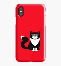 TUXEDO CAT ON RED BACKGROUND iPhone Case