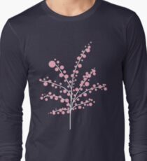 Blush Pink Blossom Tree : on Navy Long Sleeve T-Shirt