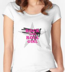 ROCK AND ROLL #GIRL #pink Women's Fitted Scoop T-Shirt