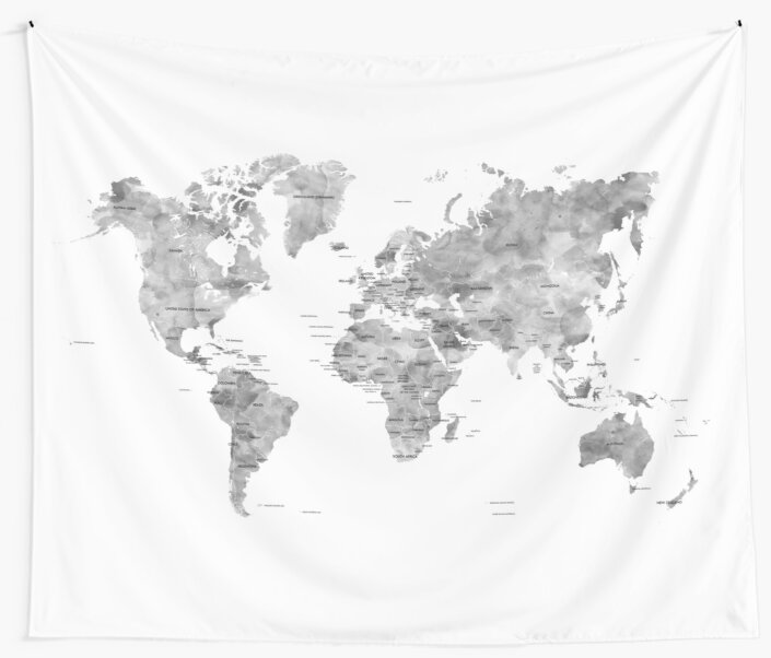 Gray watercolor world map with countries labelled wall tapestries gray watercolor world map with countries labelled by blursbyai gumiabroncs Gallery