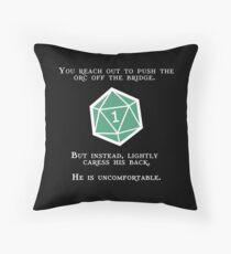 Natural 1 - Orc (White) Throw Pillow