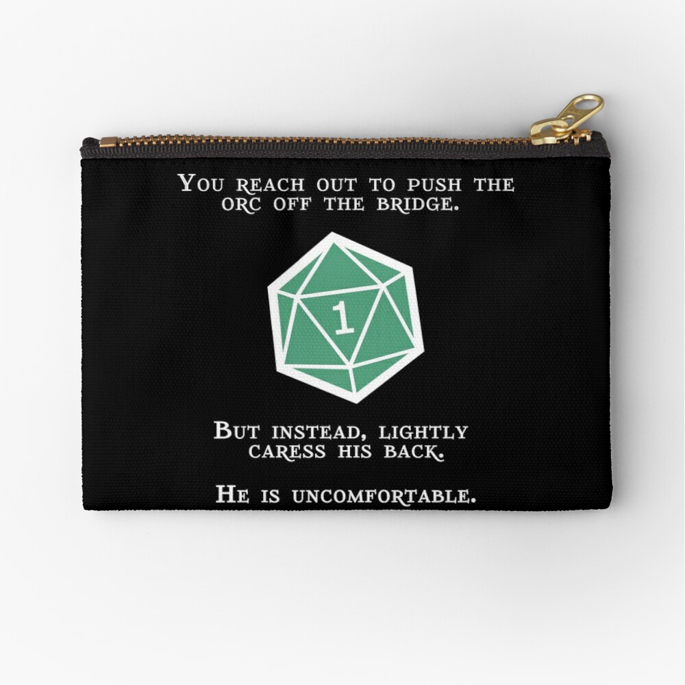 Natural 1 - Orc (White) Zipper Pouch