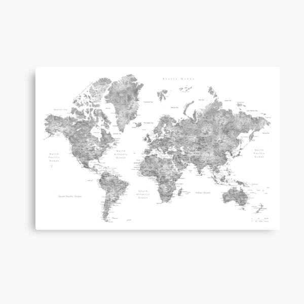 Grayscale watercolor world map with cities Canvas Print