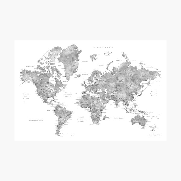 Grayscale watercolor world map with cities Photographic Print