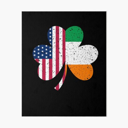 Irish American Flag Shirt - Vintage Shamrock St Patricks Day T Shirt Art Board Print