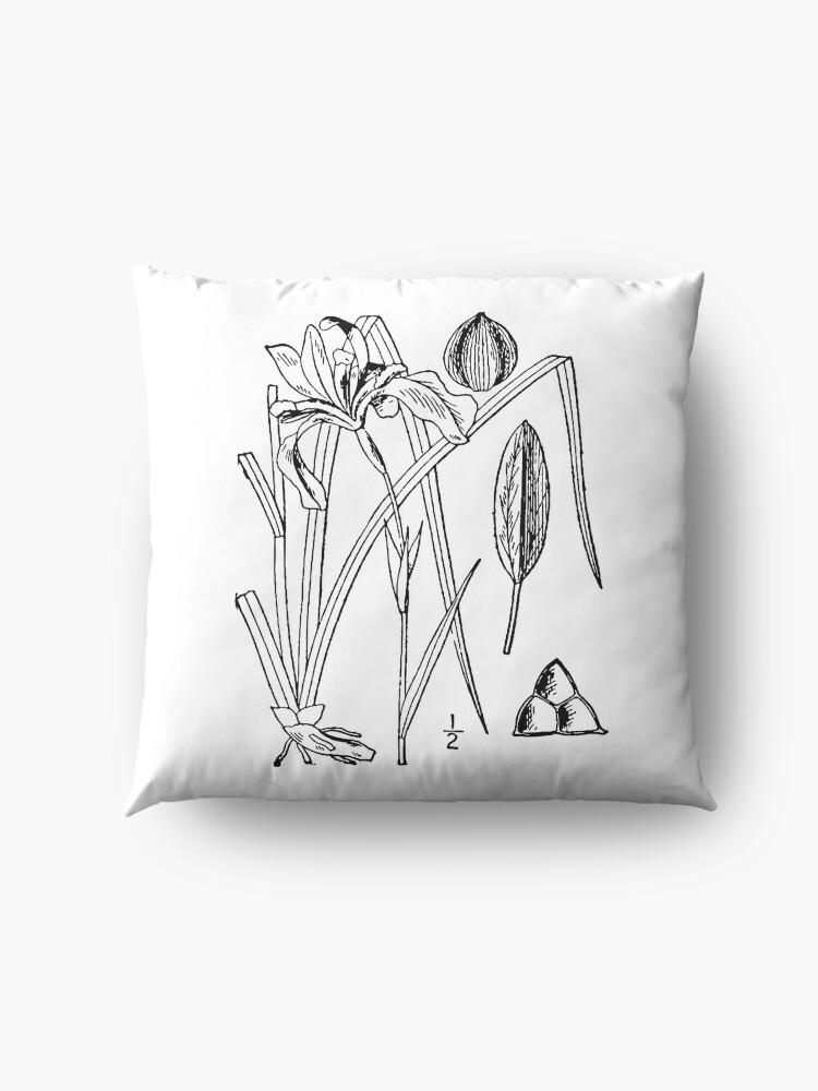 Alternate view of Botanical Scientific Illustration Black and White Iris Floor Pillow