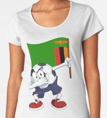 Sambia Dabbing Fussball Premium Rundhals-Shirt