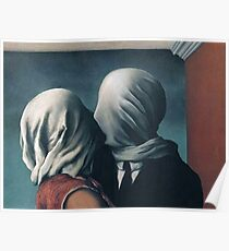 The lovers Kiss By Rene Magritte Poster
