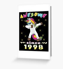 Awesome Since 1998 Unicorn Dabbing Bday Party Gift 20 Years Dab Dance 20 th Birthday Greeting Card