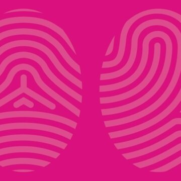 Screened Pink Fingerprint Art on Pink Background of the Four Life Schools by ElaineCallahan