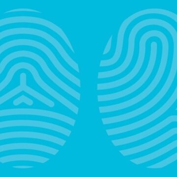 Screened Blue Fingerprint Art on Blue Background of the Four Life Schools by ElaineCallahan