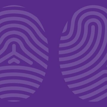 Screened Purple Fingerprint Art on Purple Background of the Four Life Schools by ElaineCallahan