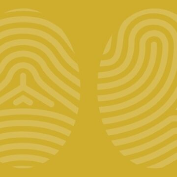 Screened Gold Fingerprint Art on Gold Background of the Four Life Schools by ElaineCallahan