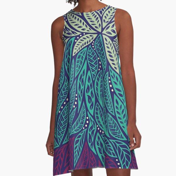 Polynesian floral blue purple tattoo design A-Line Dress