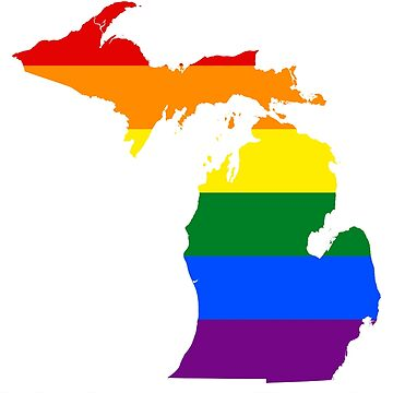 State of Michigan Gay Pride Flag Map by MADdesign