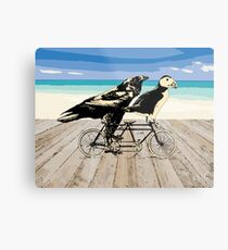 Puffin and Raven Metal Print