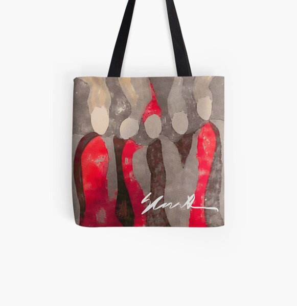 Women in Gray and Red All Over Print Tote Bag
