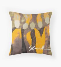 Women in Gray and Gold Throw Pillow