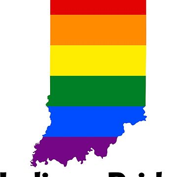 State of Indiana Gay Pride Flag Map by MADdesign