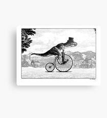 T-Rex on a Penny Farthing Metal Print