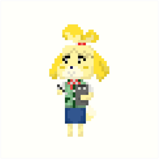 'Pixel Isabelle Animal Crossing New Leaf' Art Print by Sarah Haynes
