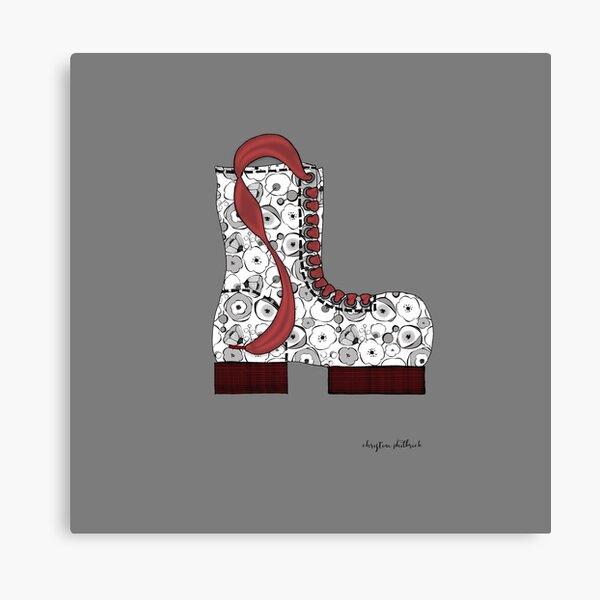 Black & White Blossom Boot Canvas Print