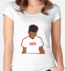 21 SAVAGE 3D VERSION Women's Fitted Scoop T-Shirt