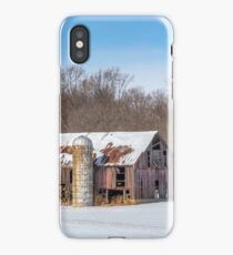 Snowy Old Barn and Silo iPhone Case/Skin
