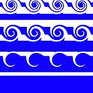 Blue and White Stripes and Curlicues by Artist4God