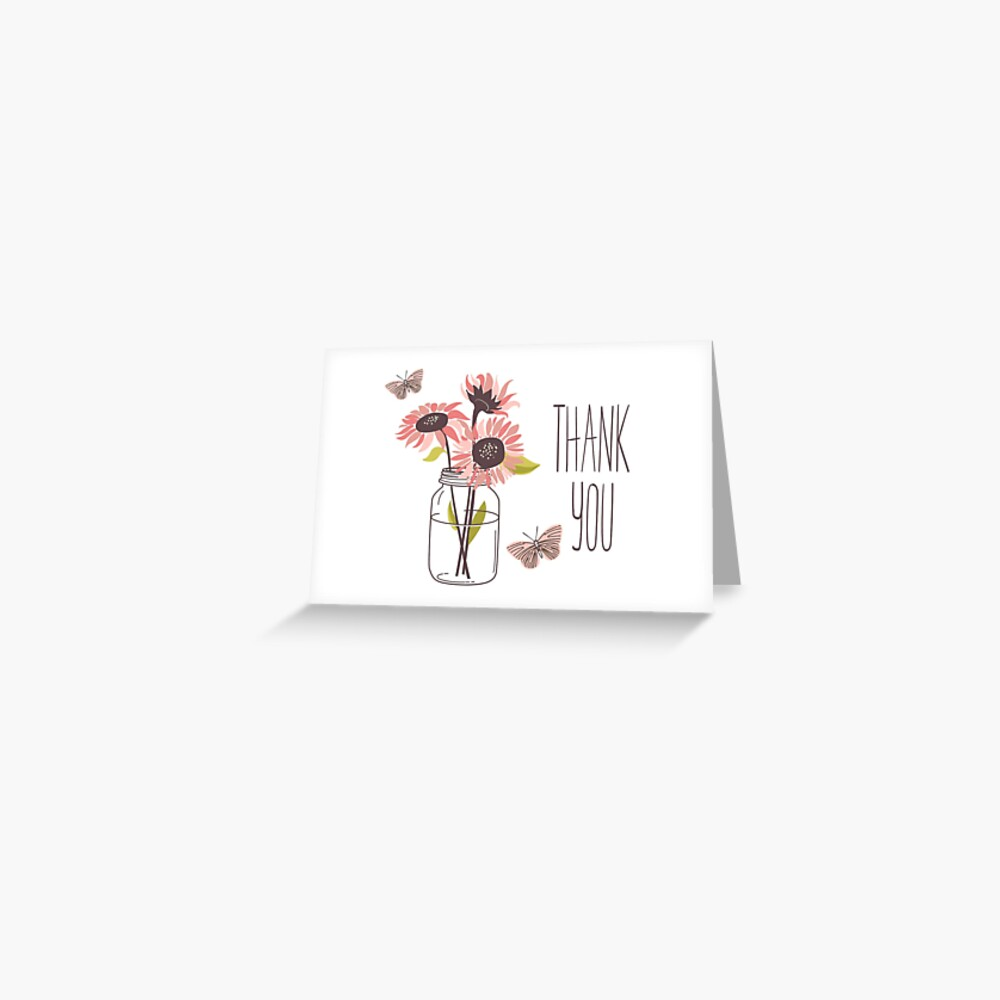 Thank You Card with Pink Sunflowers Greeting Card