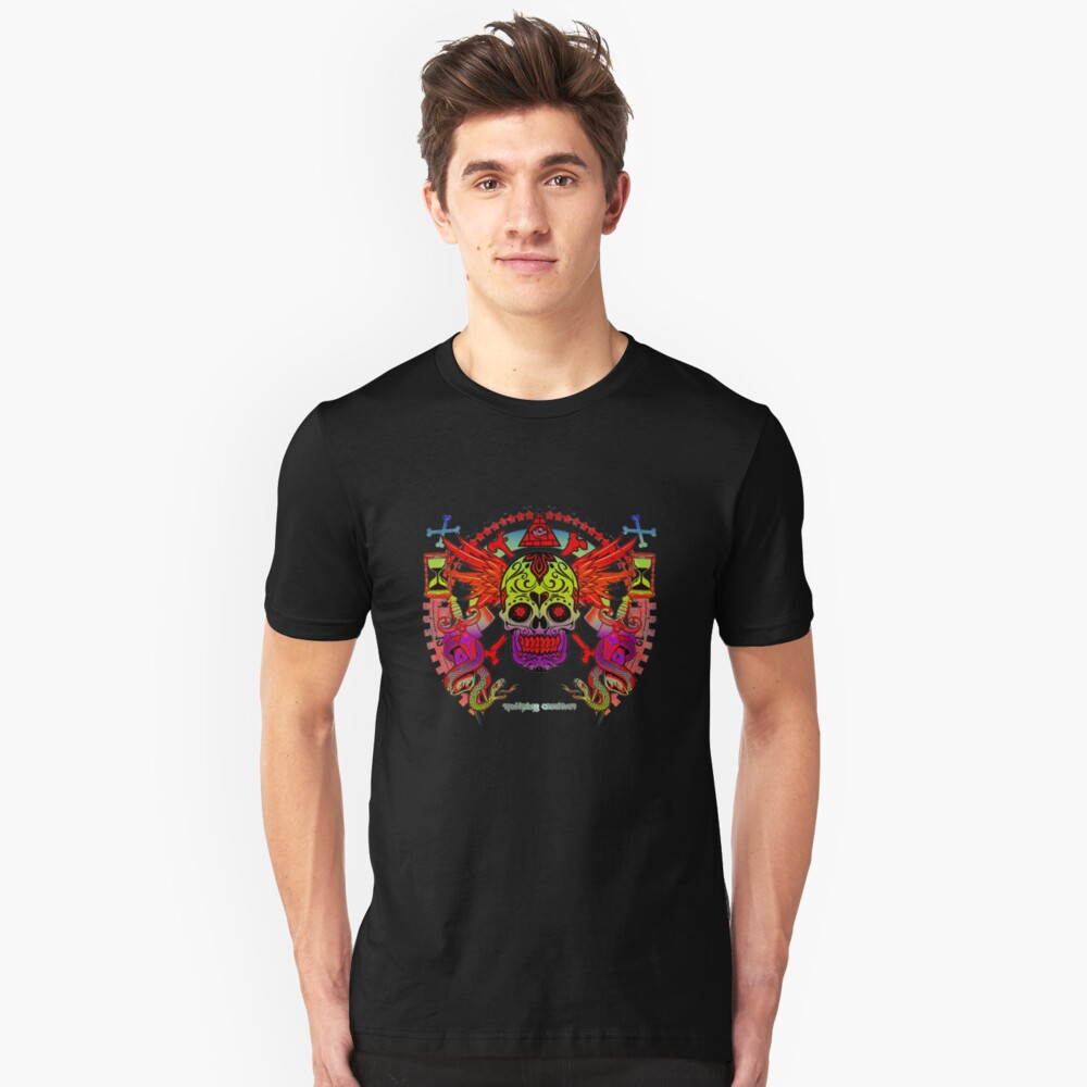 Sugar Skull Day Of The Dead Traditional Tattoo Vintage Flash Slim Fit T-Shirt