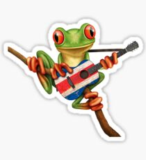 Tree Frog Playing Costa Rican Flag Guitar Sticker